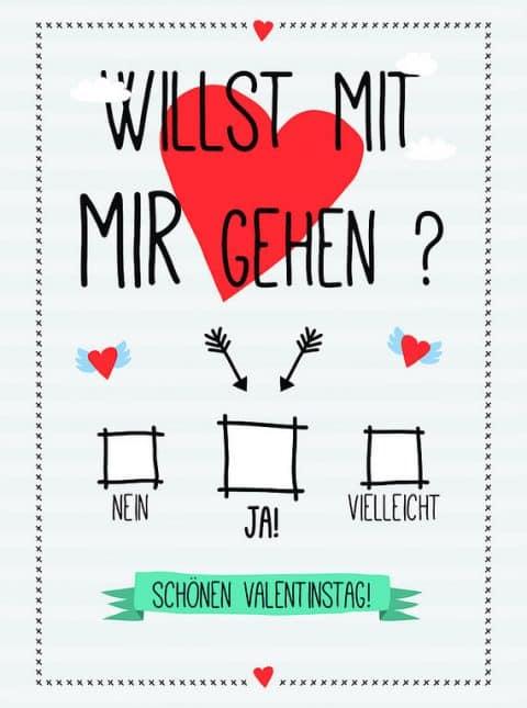 Willst Du mit mir gehen? Valentinskarte